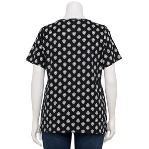 Plus Size Croft & Barrow® Printed Essential V-Neck Tee