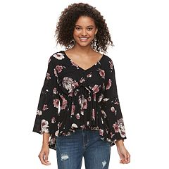 Juniors' American Rag Lace-Up Floral Top