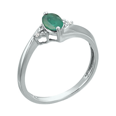 Sterling Silver Gemstone Diamond Accent Ring