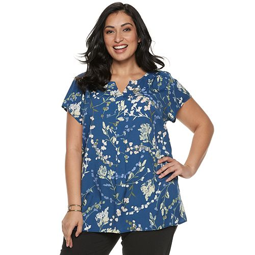 Plus Size Croft & Barrow® Short Sleeve Blouse