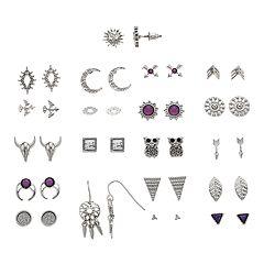SO® Silver Tone Purple Swarovski Crystal, Moon & Owl Stud Nickel Free Earring Set