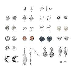 SO® Silver Tone Rose, Moon & Feather Motif Nickel Free Stud Earring Set