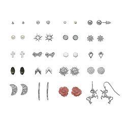 SO® Silver Tone Rose, Unicorn & Simulated Pearl And Swarovski Crystal Stud Nickel Free Earring Set