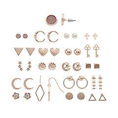 SO® Rose Gold Tone Simulated Stone, Heart & Moon Motif Stud Nickel Free Earring Set