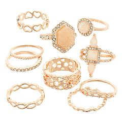 SO® Rose Gold Tone Simulated Stone Textured Heart Motif Ring Set