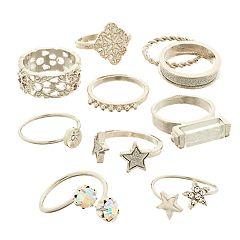 SO® Silver Tone Simulated Crystal Star Motif Ring Set