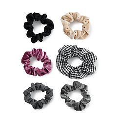 SO® Plaid Pattern & Velvet Scrunchie Hair Tie Set