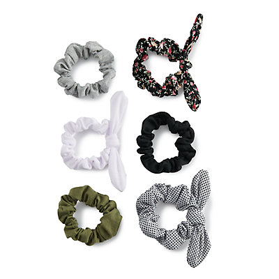 SO® Floral Pattern & Bow Detail Scrunchie Hair Tie Set