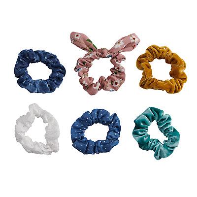 SO® Metallic & Floral Patterned Scrunchie Hair Tie Set