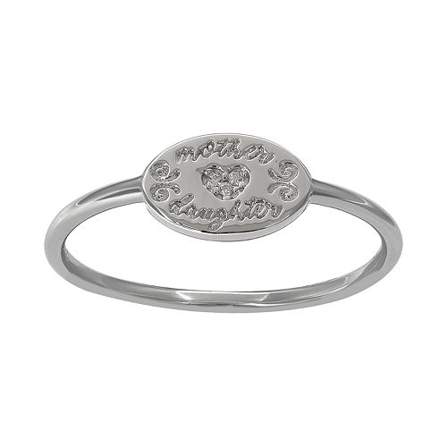 PRIMROSE Sterling Silver Cubic Zirconia Etched Mother Daughter Ring