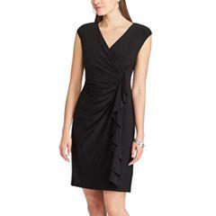 Women's Chaps Ruffled Surplice Sheath Dress