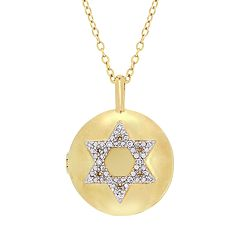 Stella Grace Sterling Silver Diamond Accent Star of David Locket Necklace