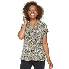 Petite Dana Buchman Placket Short Sleeve Top
