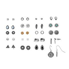 SO® Silver Tone Simulated Stone & Pearl Elephant, Flower & Leaf Nickel Free Stud And Drop Earring Set