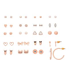 SO® Rose Gold Tone Simulated Stone Cat, Owl And Heart Nickel Free Stud & Hoop Earring Set