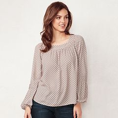 Women's LC Lauren Conrad Love, Lauren Shirred Peasant Top