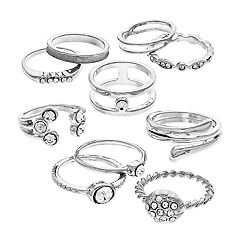 SO® Silver Tone Simulated Stone Textured Ring Set
