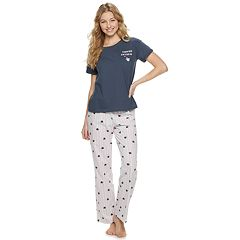 Juniors' SO® Boxy Tee & Pajama Pants Set