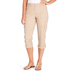 Petite Gloria Vanderbilt Ribbed High-Waisted Cargo Capris