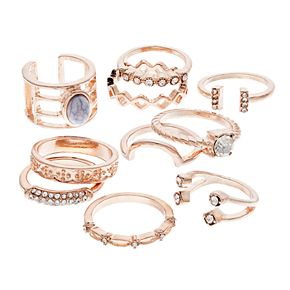 SO® Rose Gold Tone Simulated Stone Textured Ring Set