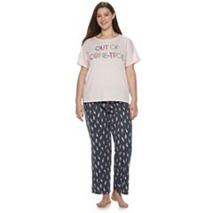 Juniors' Plus SO® Sleep Tee & Pajama Pants Set