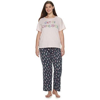Juniors' Plus SO® Sleep Tee & Pajama Pants Set