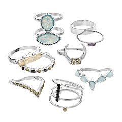 SO® Silver Tone Simulated Stone & Crystal Ring Set