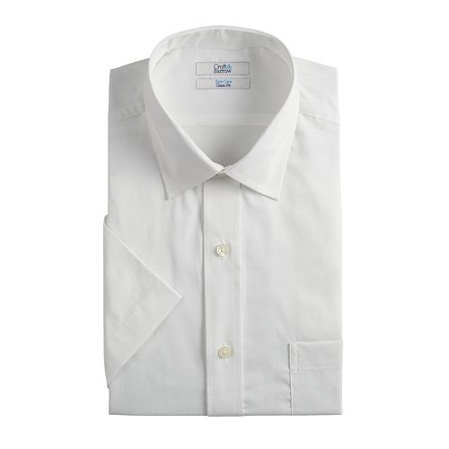Men's Croft & Barrow® Easy-Care Short-Sleeved Spread-Collar Dress Shirt