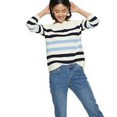 Women's POPSUGAR Striped Oversized Boatneck Sweater