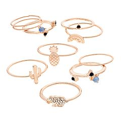 SO® Rose Gold Tone Simulated Stone Cactus, Pineapple & Elephant Ring Set
