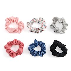 SO® Floral & Metallic Patterned Scrunchie Hair Tie Set