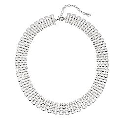 Napier Silver Tone Chain Detail Collar Necklace