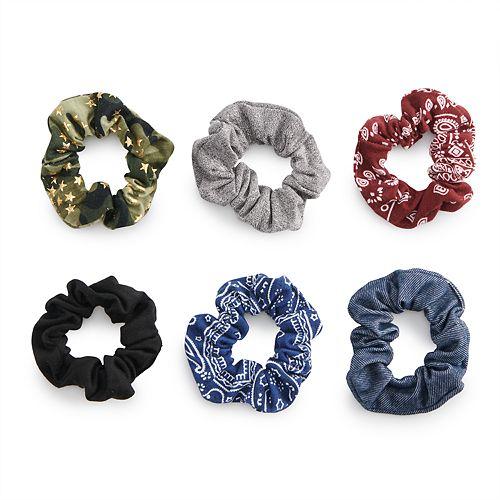 SO® Multi Colored Bandana Motif & Metallic Pattern Scrunchie Hair Tie Set