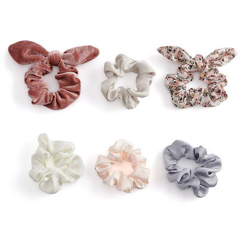 SO® Multi Colored & Patterned Satin & Velvet Scrunchie Hair Tie Set