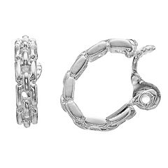 Napier Silver Tone Link Detail Clip-On Hoop Earrings