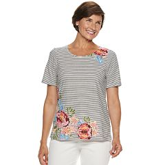 Women's Cathy Daniels Floral Striped Top