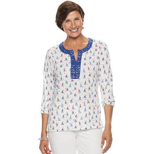 Women's Cathy Daniels Embellished Sailboat Top