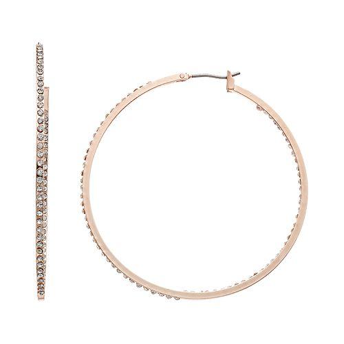 Simulated Crystal Hoop Earrings