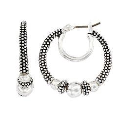 Napier Beaded Double-Hoop Earrings