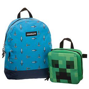 Minecraft Pickax & Sword Backpack & Creeper Head Lunch Box Set