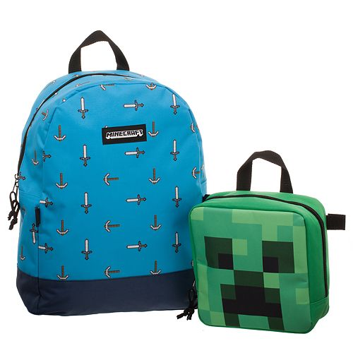 Minecraft Pickax & Sword Backpack & Creeper Head Lunch Box Set