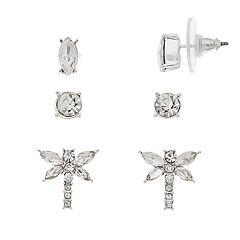 Napier Dragonfly 3-Pair Stud Earring Set