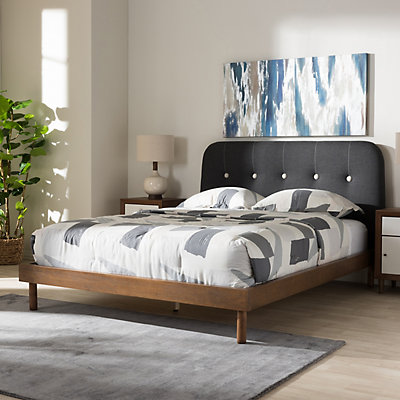 Baxton Studio Mid-Century Dark Gray Platform Bed