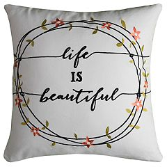 Rizzy Home Cassie Life Is Beautiful Pillow