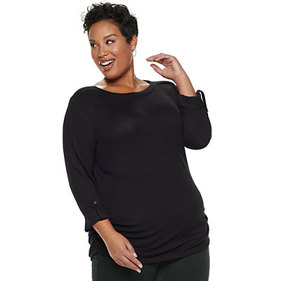 Plus Size Croft & Barrow® Rusched Top