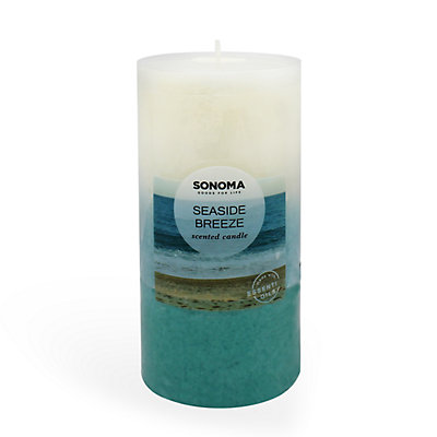 """SONOMA Goods for Life? 3"""" x 6"""" Seaside Breeze Pillar Candle"""