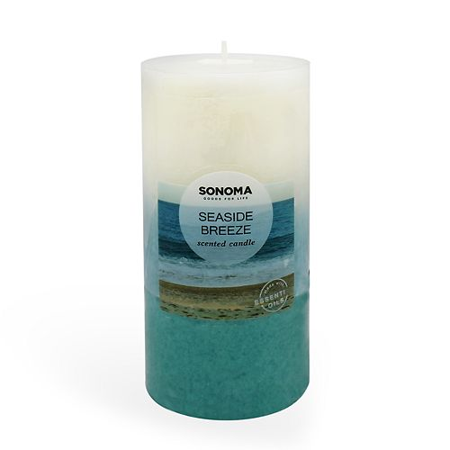 "SONOMA Goods for Life® 3"" x 6"" Seaside Breeze Pillar Candle"