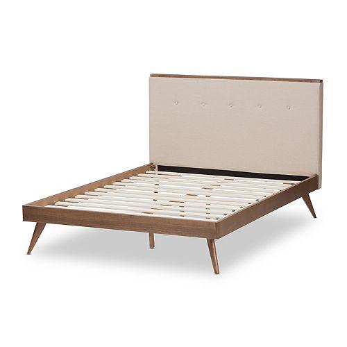 Baxton Studio Mid-Century Beige Platform Bed