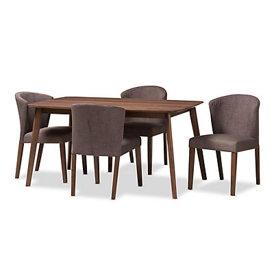 Baxton Studio Mid-Century Curved Chair & Table Dining 5-piece Set