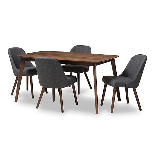 Baxton Studio Mid-Century Rounded Chair & Table Dining 5-piece Set